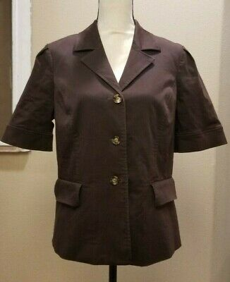 Oscar de la Renta sz 16 brown button top jacket short sleeves lined stretch