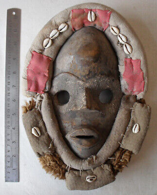 Vintage Carved Wood African Dan Mask Nigeria Applied colour, cloth, hair.