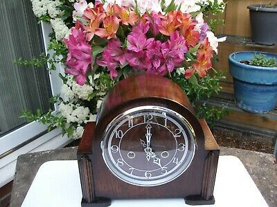 Enfield (Smiths) Oak Case 8 Day Striking Mantel Clock. 1949. Fully Overhauled.