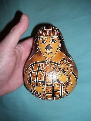 "Hand Painted Gourd Egyptian Pharaoh Art MhinoJo ""98"" 6 inch Tall"