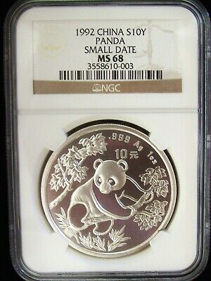 1992 China Panda Small Date 10 Yuan NGC MS68 1 Ounce Silver Coin