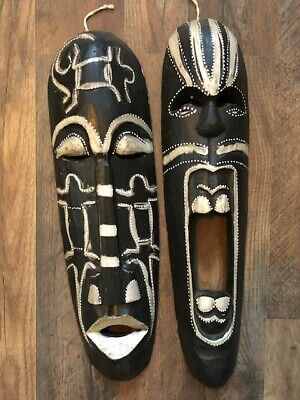 """Pair (2) Wooden African Tribal Masks Decor 19""""x5"""" Free Shipping!"""