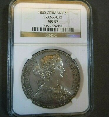 1860 Frankfurt 2 Taler NGC MS62 Certified Uncirculated German State Silver two T