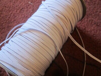 """12 yards Elastic Band 1/8"""" WIDE-- White, High Tenacity, Stretch---  LOWEST PRICE"""