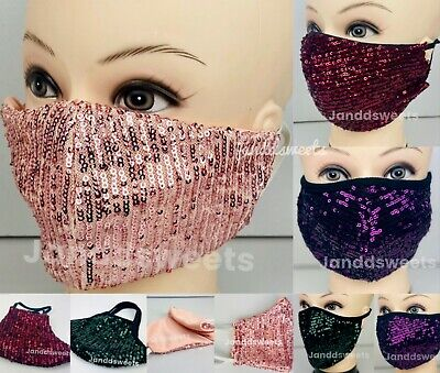 Reusable Sequin Face Mask Washable, Sparkly Cover Mouth Nose Fashion Dazzle USA