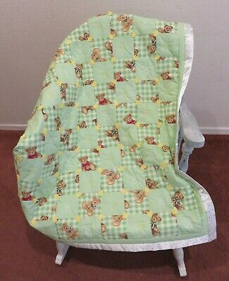"Baby Quilt Comforter Green Check Yellow Flower Applique Embroidery 33"" X 43"""