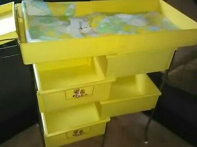 Vintage Baby Changing Table/Station W/Pad* Folds Up w/ Four Deep Compartments!