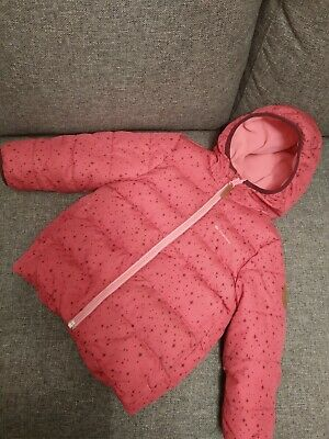 Quechua Decathlon bright pink star pattern padded hooded winter coat jacket 3 y