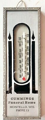 Vintage Cummings Funeral Home Montello Wisconsin Advertising Thermometer