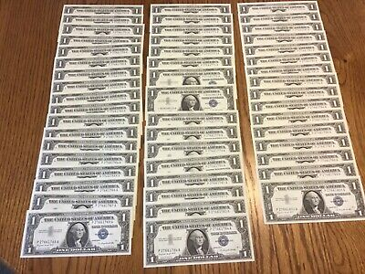 Lot of 50 Consecutive 1957A Uncirculated Blue Seal $1 Silver Certificates