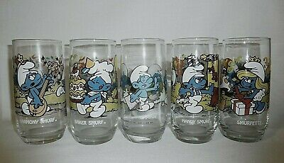 Lot of 5 Smurf Drinking Glasses 1983