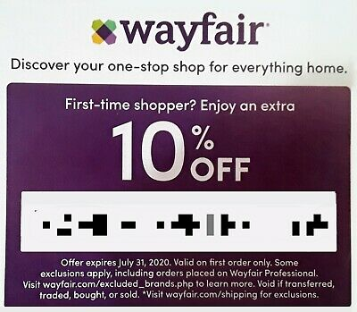 Wayfair Discount Coupon 10% OFF First Time Shopper. Expires July 31, 2020