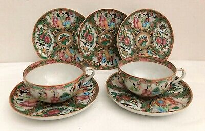 Antique Chinese ROSE MEDALLION (2) Tea Cups and (5) Small Plates