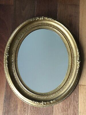 Antique Ornate Vintage Gold Gilt Wood Oval Wall Mirror.