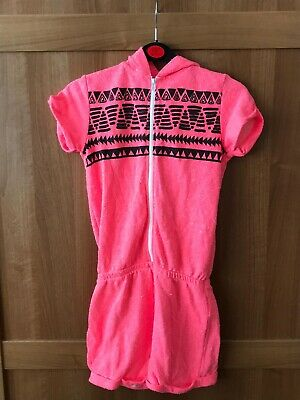 Neon Pink Aztec Towelling Playsuit With Hood - George - Age 9-10