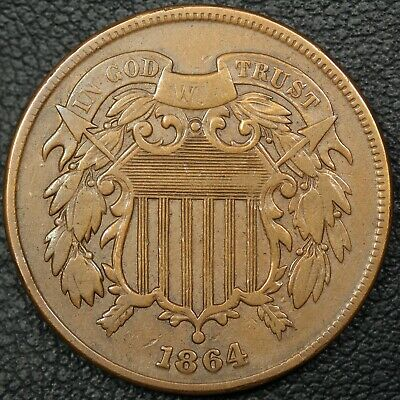1864 Copper Two Cent Piece - Cleaned