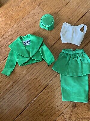 Vintage Barbie Doll Fashion Clothes Theater Date Green Satin Suit Set