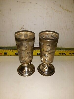 2 Vintage Sterling Silver Overlay Cordials with Glass Inserts, Stamped, Mexico