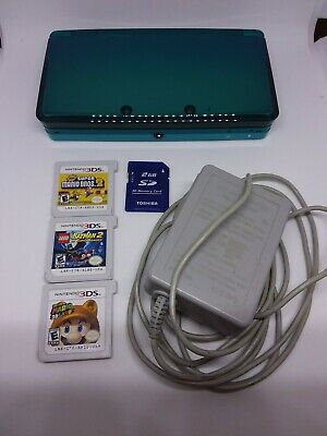 Nintendo 3DS Handheld System - Aqua Blue with  3 games SD card , carrying case