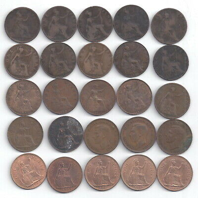 British UK Large Penny 25 Coin Lot all various dates Victoria to Elizabeth  2
