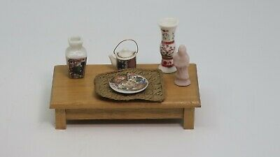 Dollhouse Miniature Asian Japanese Low Dining Table & Accessories Teapot Vases
