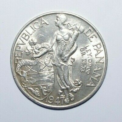 1947, Balboa Panama 0.900 Silver UNC/or High Grade  Low Mint 500 k Minted Coin