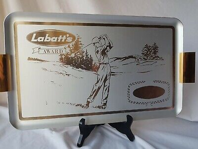 Antique Award Tray Labelled Labatt's Classic Imagery 1950s Golf