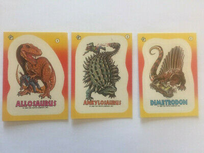 1988 Topps Dinosaurs Attack Sticker Card Lot - 11 cards