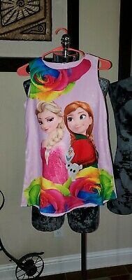 TWO Disney Girls Frozen 2 Anna & Elsa Tank Dresses 1 Pink & 1 White Brand New