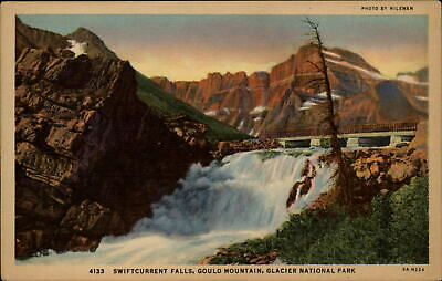 Swiftcurrent Falls Gould Mountain Glacier National Park Montana 1930s linen