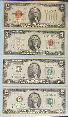 four vtg two dollar US notes: series of 1928D & 1953, pair of series of 1976s