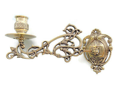"""polished PIANO SCONCE solid heavy brass 8 """" rotate candle holder heavy brass B"""