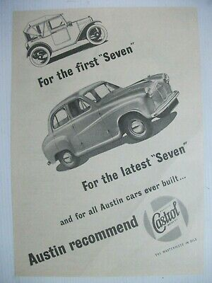 """1951 Austin Recommends Castrol Oil For The """"Seven"""" British Magazine Advert"""