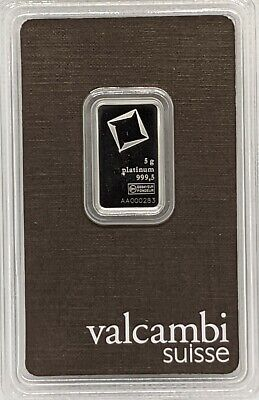 5 gram Platinum Bar - Valcambi- 999.5 Fine in Assay
