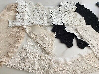 Vintage/Antique Tambour LACE Cuffs & Collars Lot Embroidered Net Crochet Bodice