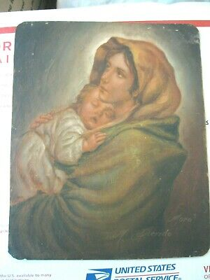 Original Vintage Retablo On Tin Madona And Child Signed ''Moro'' Great Condition