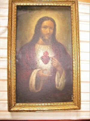 Excellent Vintage Retablo On Tin Image Of Sacred Heart Of Jesus Framed