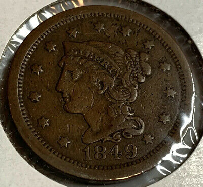 1849 - Braided Hair Large Cent - HIGHER GRADE Sharp Coin Nice Year