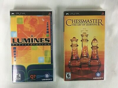 PSP Sony PlayStation Portable Lot of 2 Puzzle Games - Lumines + ChessMaster