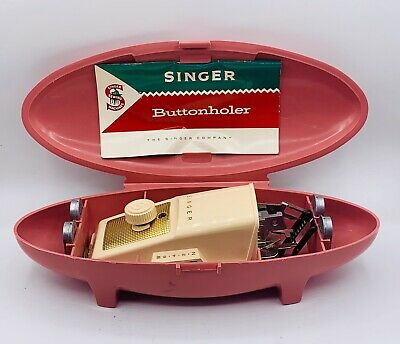 Singer Buttonholer Attachment Button Hole Maker Pink Mid Century