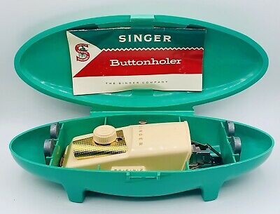 Singer Buttonholer Attachment Button Hole Maker Teal-Green Mid Century