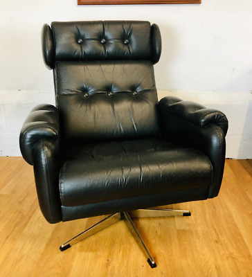 VINTAGE RETRO DANISH  BLACK LEATHER SWIVEL CHAIR 1960,s