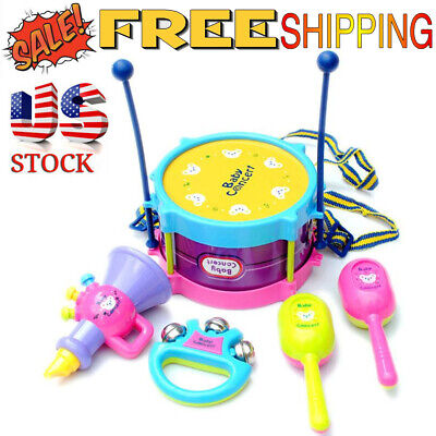 5PC Funny Kids Baby Roll Drum Musical Instruments Band Kit Children Toy Gift Set
