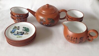 Yixing Oriental teapot set with 6 cups, 6 plates and jug