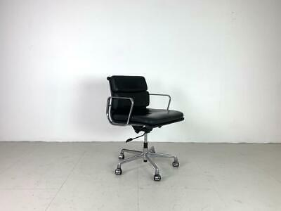 Vintage Eames Herman Miller Black Leather Soft Pad Group Chair #2936