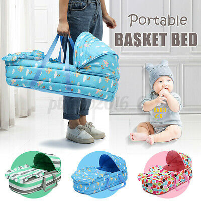 Baby Moses Basket Safe Newborn Travel Bed Bassinet Carrier Cradle With Hood