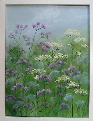Verbena and Cow Parsley : original framed painting, garden, flowers, colour