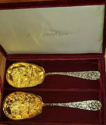 American Silversmiths by Godinger 2 Gold Silver Strawberry Fruit Serving Spoons
