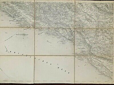 Old Folded Lithography Topographical Map of Area Dubrovnik (Ragusa) Croatia