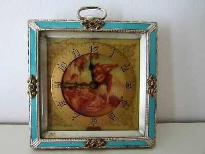 Antique Victorian German Enamel Travel Wind Up Clock Scene Dial For Revise